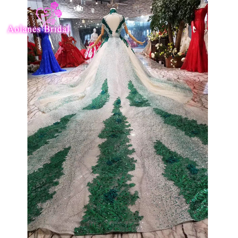 17c91f9a4c5 Supper Long Train Vestidos De 15 Anos Quinceanera Dresses Green Lace Girls  Beaded Masquerade Sweet 16
