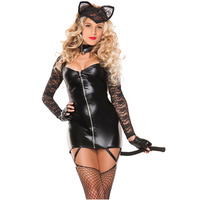 FGirl Cosplay Costume Sexy Halloween Costumes For Women 2pcs Sexy Lace Cat Costume FG30925