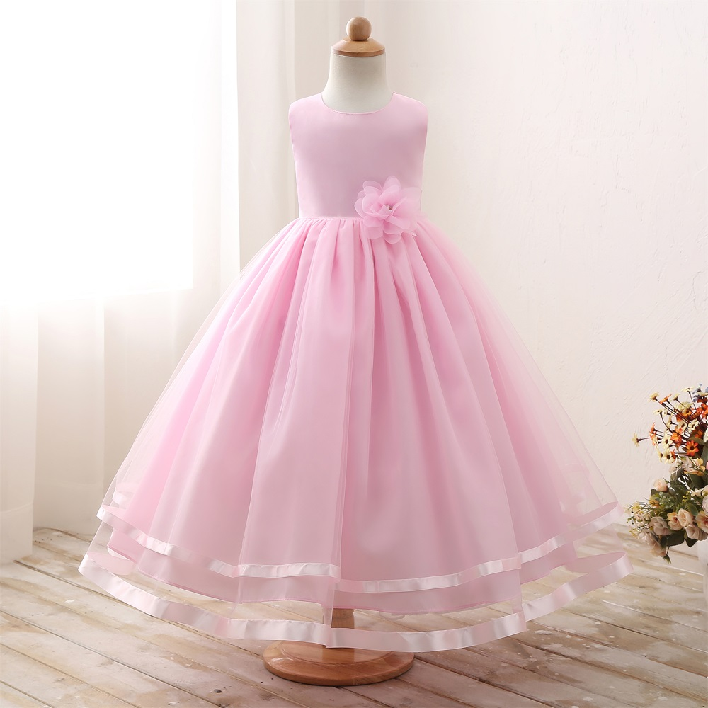 3fa34a62b937e Elegant White Flower Girl Long Evening Dress Baby Girl Christening Gown  Children's Princess Costume For Teen Girl Wedding Dress