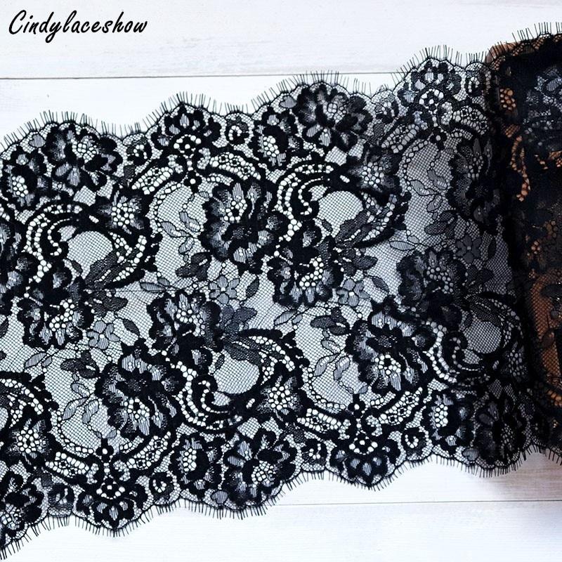 Нижнее белье Cindylaceshow, Черная кружевная отделка для ресниц, 3 метра, 23,5 см, кружевная ткань для шитья и самостоятельного изготовления платьев