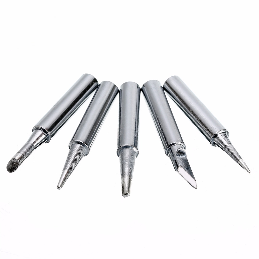 5pcs 900M-T Series Sliver Metal Soldering Iron Head Tip Lead-free Replacement Soldering Welding Sting Soldering Iron Station