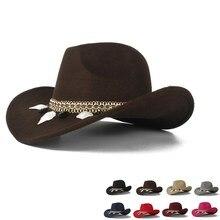 Женская шерстяная ковбойская шляпа в западном стиле, женская черная ковбойская шляпа Sombrero Hombre Jazz cap