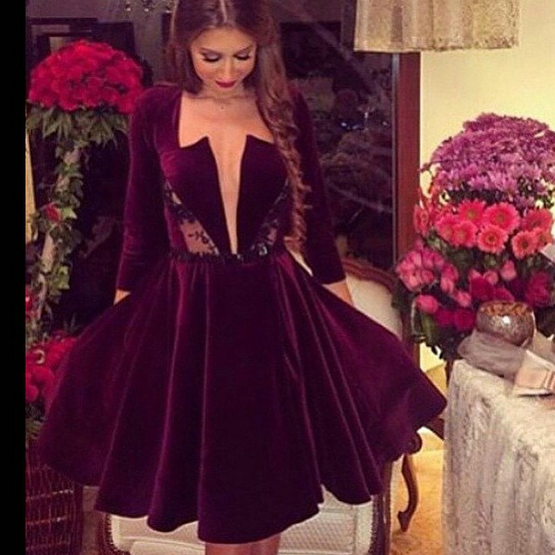 Short Burgundy Prom Dresses with Sleeves