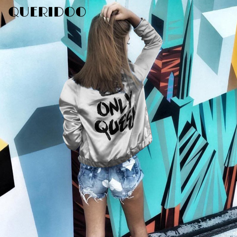 Fashion-Women-Baseball-Bomber-Jacket-Girls-Printed-Only-Queen-Glossy-Souvenir-Jacket-Outwear