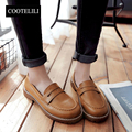 COOTELILI 35-39 Spring Casual Retro Flats Women Shoes Soft Leather Round Toe Loafers Slip-On Solid Sleeves Lazy Ladies Shoes