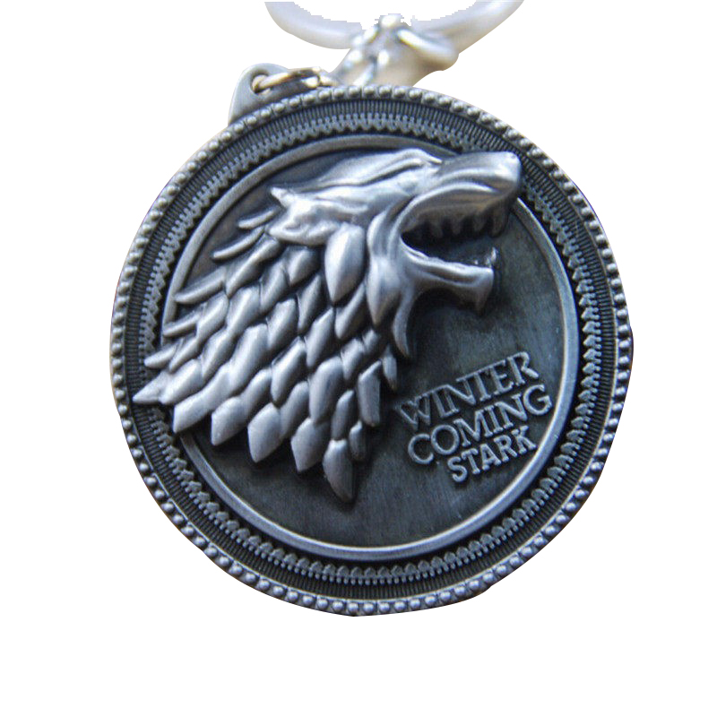 STARWORLD HBO Game of Thrones keychain House Stark Winter Is Coming 5.2 cm Metal pendant keyring key chain Souvenir for fans