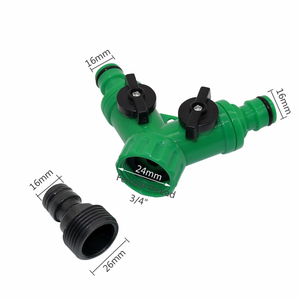 """1set 3 4 Female Thread Y Shape Connector With 3 4 Male Thread Tap Nipple Joint 1set 3/4""""Female Thread Y Shape Connector With 3/4""""Male Thread Tap Nipple Joint Quick Coupling Drip Garden Irrigation System tool"""