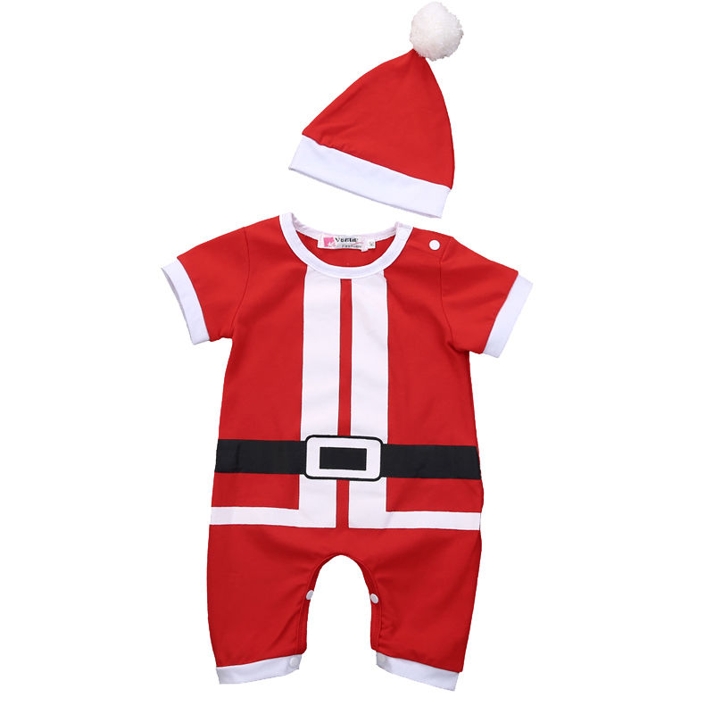 Spring Autumn Christmas Baby Boy Girl Santa Romper Short Sleeve Jumpsuit Hat Outfits Clothes gift 3pcs set newborn infant baby boy girl clothes 2017 summer short sleeve leopard floral romper bodysuit headband shoes outfits