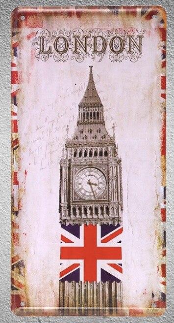 1 Stück London Big Ben Großbritannien Großbritannien Weißblech Zeichen Wand Manneshöhle Dekoration Metall Kunst Vintage Poster