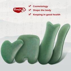 Pedra de jade aventurine natural guasha massagem ferramenta acupuntura spa terapia gua sha massageador raspagem placa para rosto volta corpo