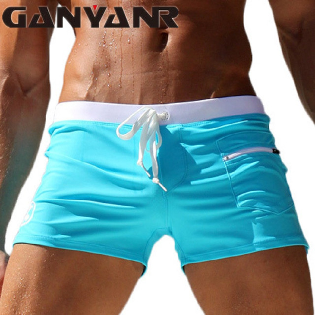 Mens Swimwear Boxer Shorts Swimming Trunks