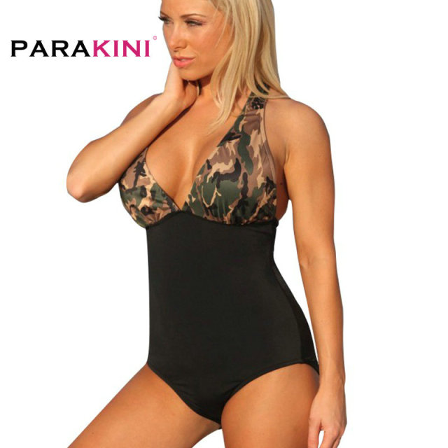 b368fbdbc58 PARAKINI 2018 Plus Size XL Sexy Women One Piece Swimwear Camouflage Print  Swimsuit Push Up Padded