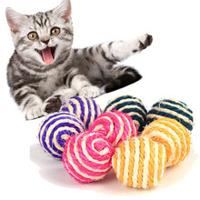 Multi-color ball toys Funny Pet Cat Play Pet Sisal Rope Weave Ball Play Chewing Rattle Scratch Catch toy Cat interactive toys