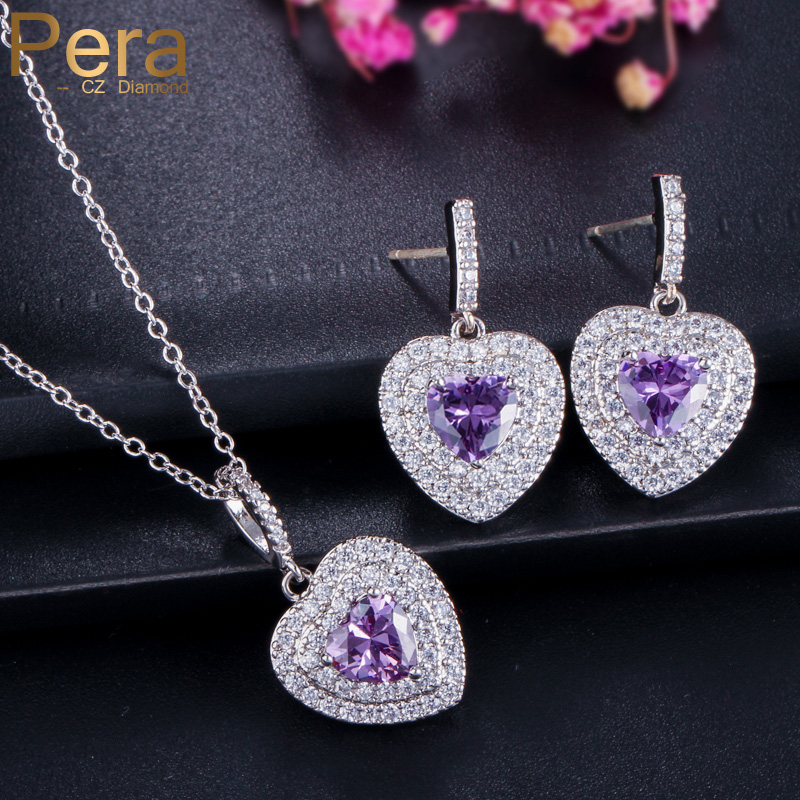 Pera CZ 2 Piece 925 Sterling Silver Jewelry Sets Gift Heart Shape Austria Crystal Purple Pendant Necklace J179