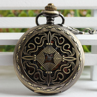 Antique Style Hollow Chinese Knot Pendant Self Winding Pocket Watch Roman Numerals Mechanical Skeleton Steampunk Gift