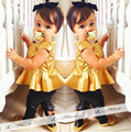Cute Short Sleeves Upper Outer Garment Dress Baby Kids Clothes Set Bow-Knot Girls Clothes