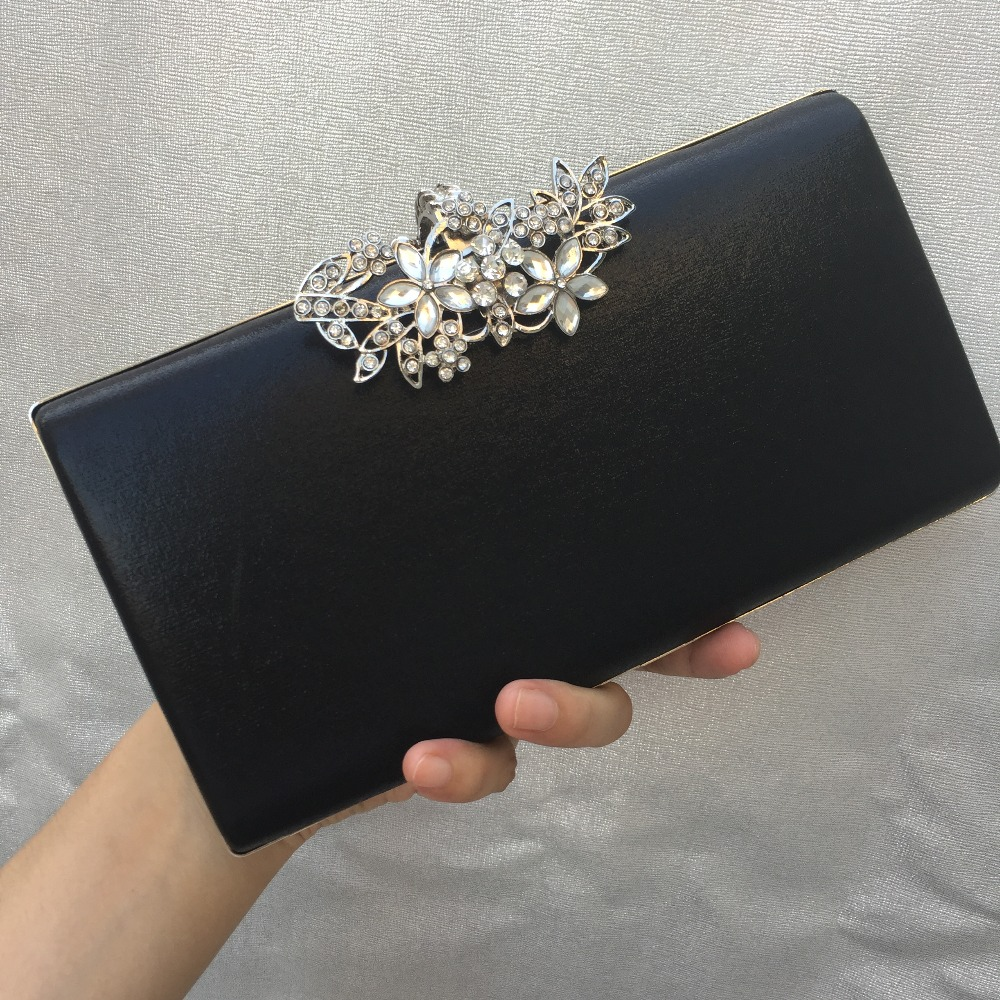 DAIWEI New Women's Fashion PU/Leather Formal Event/Party Wedding Evening Bag/Handbag/Clutch with Diamonds BLACK GOLD SILVER