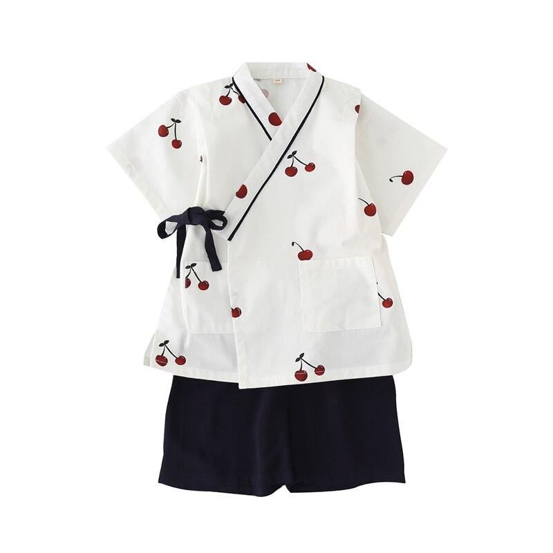 Summer Thin Stype Cotton Short-sleeved Kimono Lovely Girls Kids Household Sleepwear Summer Pyjamas Set Japanese Style YukataZ952(China)