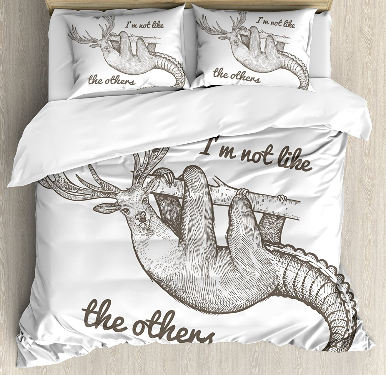 Sloth Duvet Cover Set Unusual Fantastic Animal Quote Im Not Like The Others Inspirational Vintage 4 Piece Bedding Set