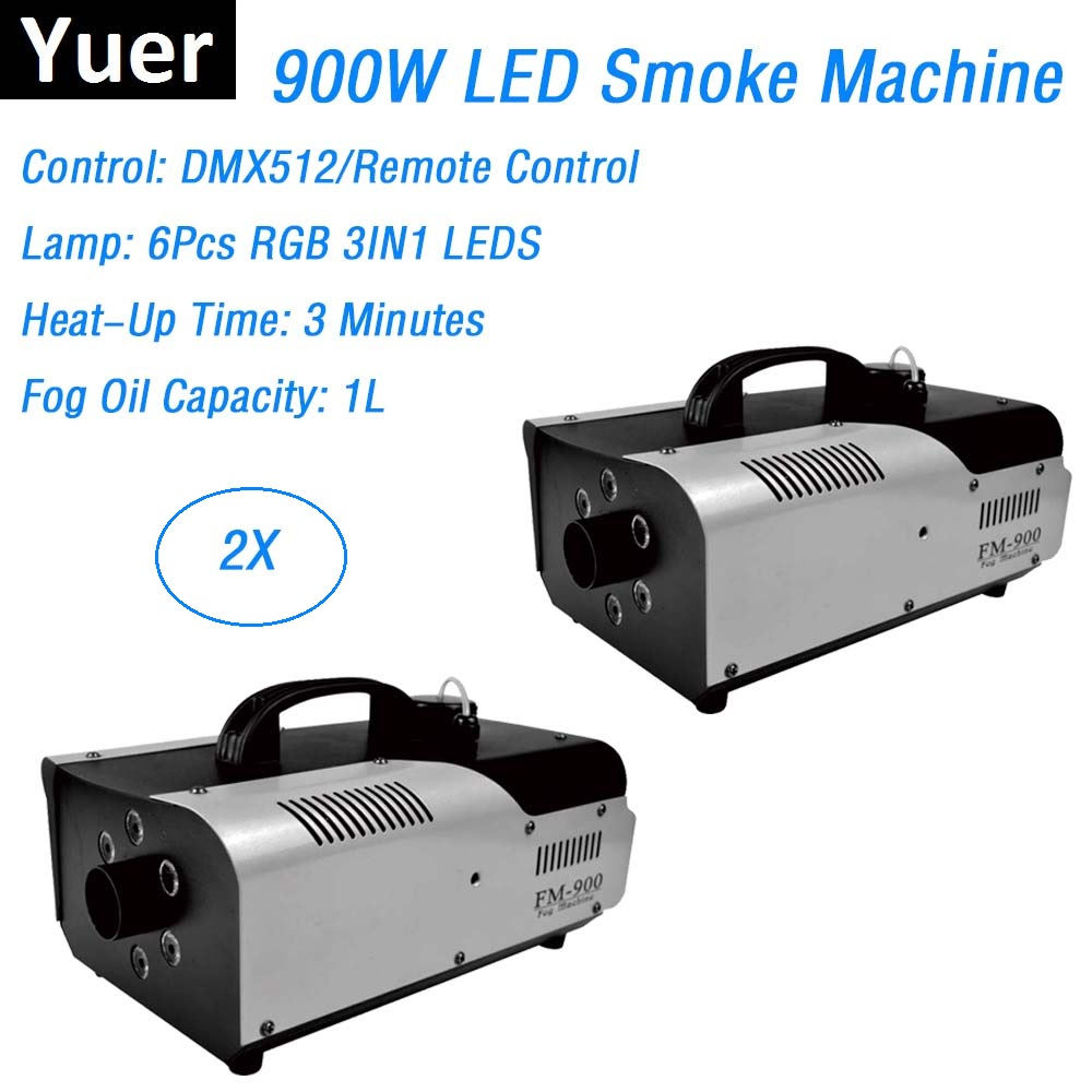 2XLot DMX / Remote Control LED 900W Smoke Machine RGB Color LED Fog Machine / Professional LED Fogger Stage 900W Smoke Ejector