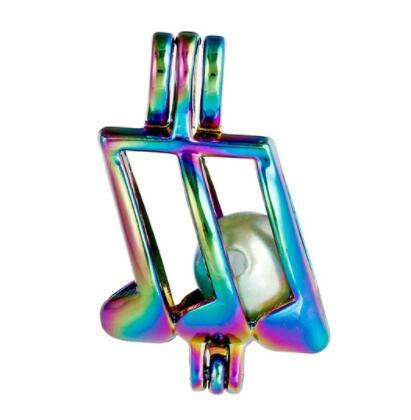 Rainbow Colored Musical Note Cage Pendant Pearl Beads Locket Jewelry Essential Oil Diffuser Wish Pearl Gift DIY RPC16