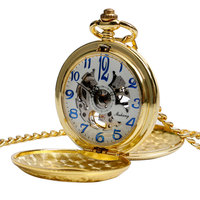 Hollow Men Vintage Pocket Watch Arabic Numerals Gift Carving Mechanical Chain Luxury Stylish Hand Winding Pendant