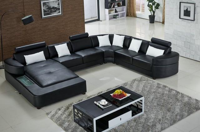 Lizz Schwarz Modular Wohn Und Sofa In U Form Leder Mit Led