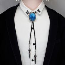 Купить с кэшбэком 2017 New Trendy Blue Dragon Egg Bolo Tie West Cowboy Glass Cabochon Jewelry Game of Thrones Shirt Bolo-tie For Men BOLO-006