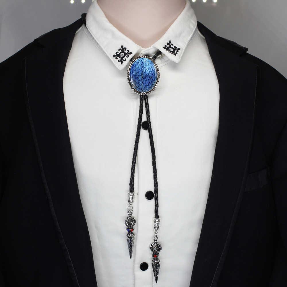 HZSHINLING owalne modne niebieskie smocze jajo Bolo Tie West Cowboy biżuteria szklana gra o tron Native Dancer Bolo-tie naszyjnik