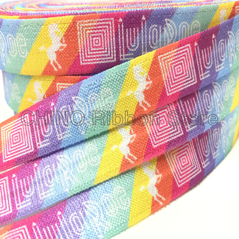 Good Quality 5/8 Lularoe Unicorn Print Fold Over Elastic Rainbow FOE Ribbon for Hair Tie DIY Head wear Hair Accessory 10 yards
