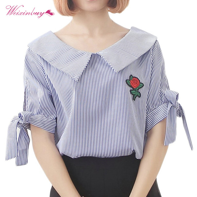 f73f094dd58794 Women Sweet vertical stripes Blouses rose flower side bow tie loose shirt  Women Short Sleeve Sailor