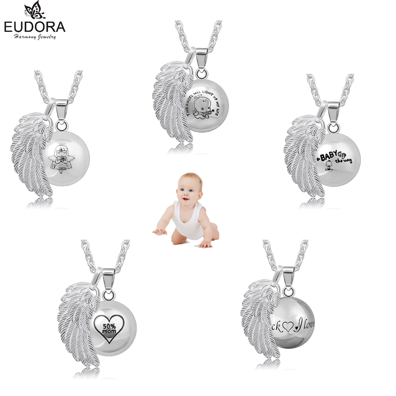5Pcs/Lot Eudora Baby Caller Angel Wing Bola Pendant Necklace Pregnancy Ball Jewelry Copper Metal Chime Bola Angel Wing Pendants