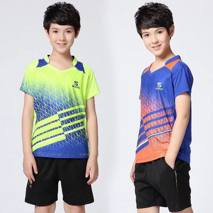 New Student Badminton t-Shirt Competition Quick Dry Comfort Sports Wear Shirts & Shorts Blue Tennis Clothes XS-3XL VF09