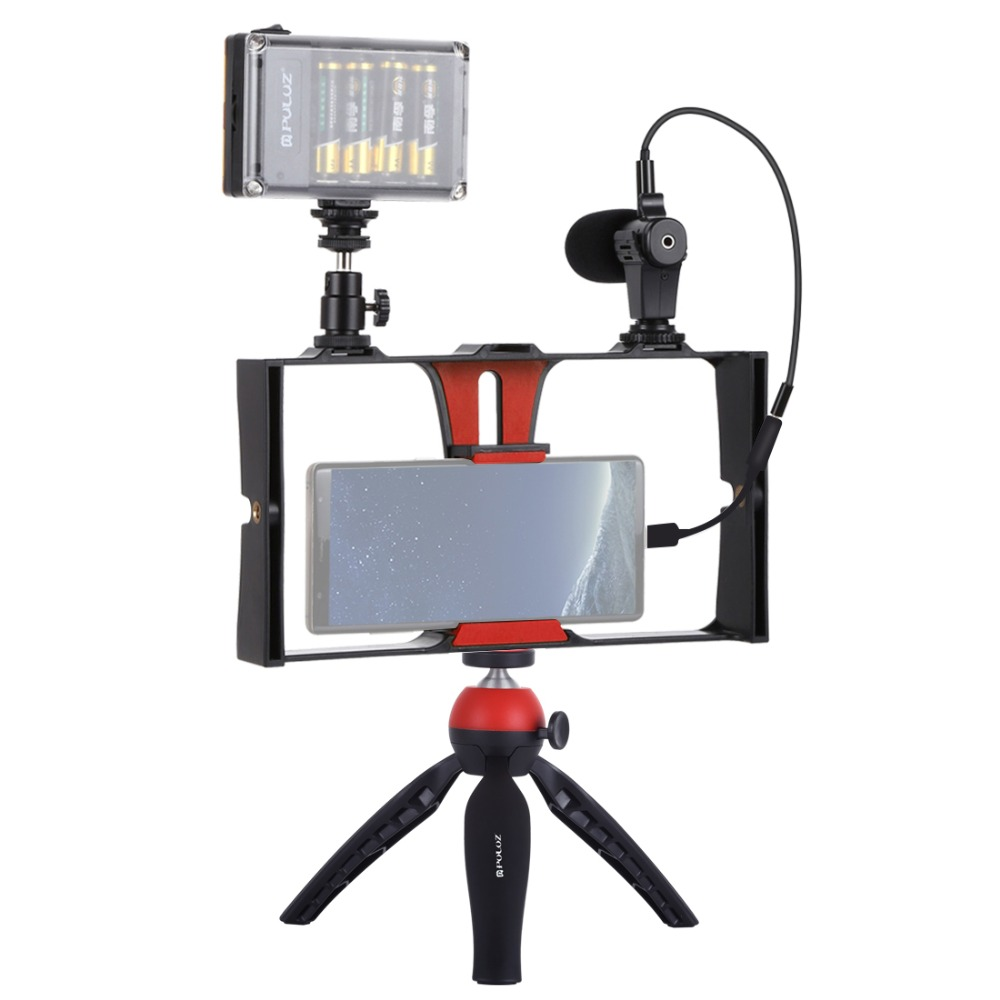 PULUZ Smartphone Video Rig Kit Smartphone Video Grip With Microphone +Video Light + Cold Shoe Tripod Head+Mini Tripod For IPhone