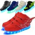 Tamanho 25-37 carregamento usb cesta casuais led crianças shoes com light up crianças simulação incandescência luminosos tênis para o menino & menina