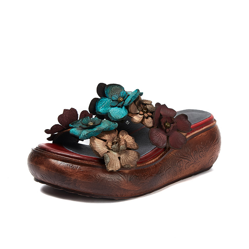 Johnature Genuine Leather 2019 New Summer Platform Slippers Floral Outside Slides Handmade Casual Sandals Wedges Women Shoes