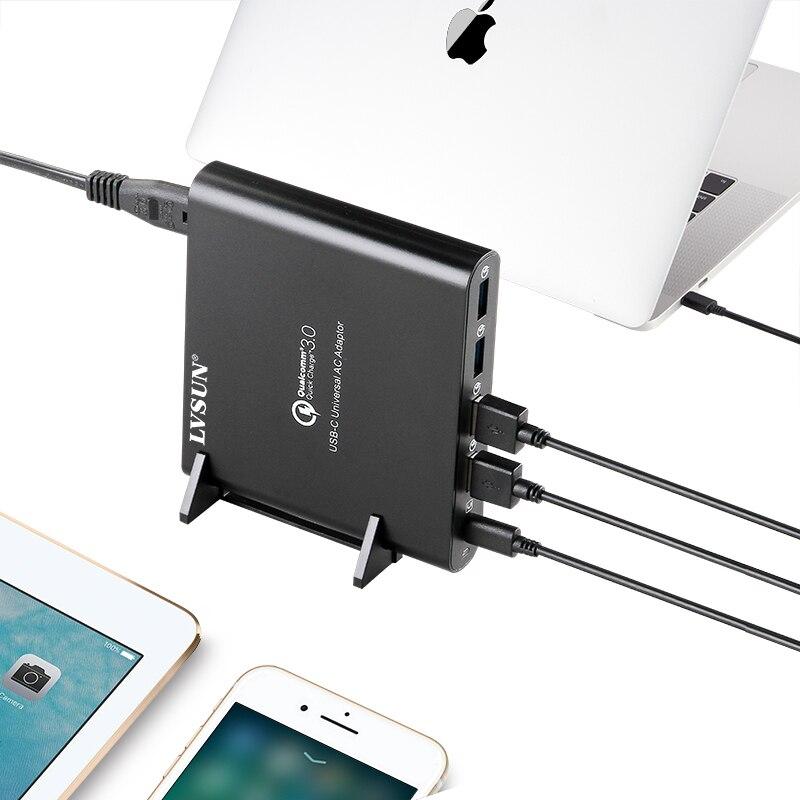 LVSUN QC 3.0 téléphone tablette ordinateur portable type-c chargeur avec type c USB-C USB c adaptateur pour Macbook 13 15 Spectre 13 Yoga 5 Xiao mi
