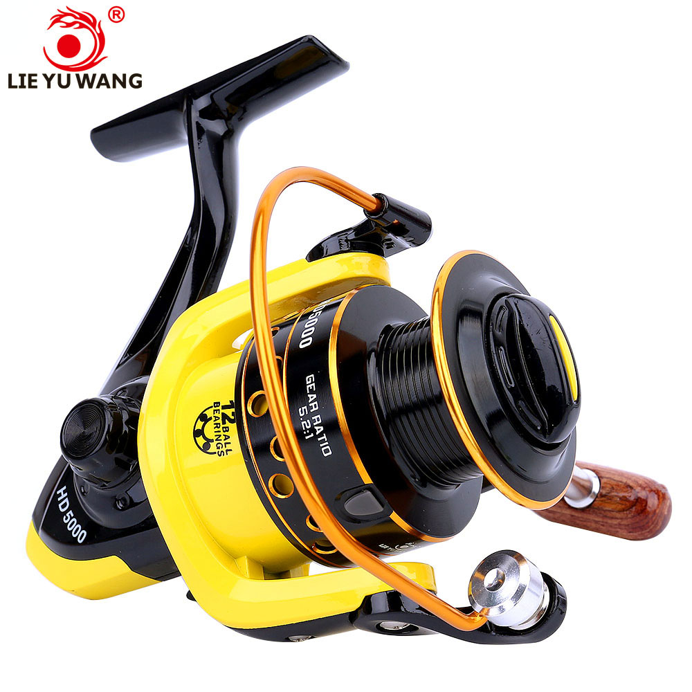 Lieyuwang 12BB 5.2:1 Carp Carretilha de pesca Moulinet Fishing Reel EVA soft handle Feeder Accessories Spinning Fishing Reels
