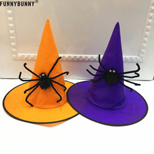 FUNNYBUNNY Halloween witch hat embellished spiders webs high quality Party decoration Masquerade non-woven spider wizard hat i wonder why spiders spin webs