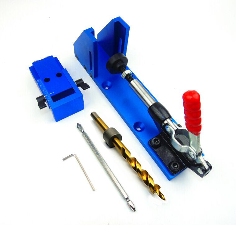 Woodworking Guide Carpenter Kit System,inclined hole drill tools,clamp base Drill Bit Kit System,Pocket Hole Jig Kit new pocket hole jig drill guide hole positioner locator with clamp woodworking tool kit suitable for joining panel furniture