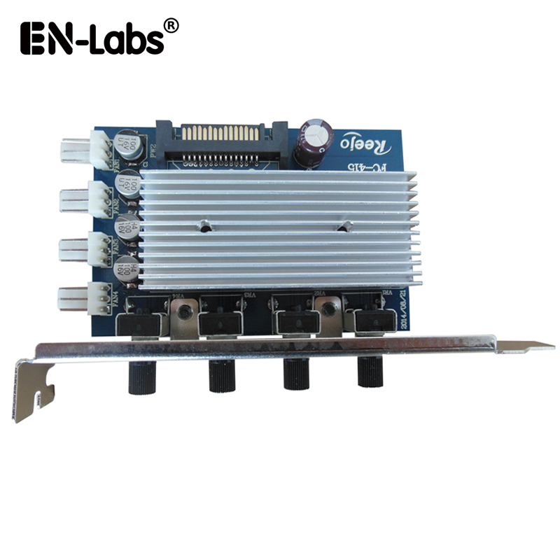 EN-Labs Computer PC CPU Case Temperature Fan Speed Controller,4 Way 3pin 4pin Fan 12V RPM Speed Reduce Regulator PCI Slot Cover cpu cooling conductonaut 1g second liquid metal grease gpu coling reduce the temperature by 20 degrees centigrade