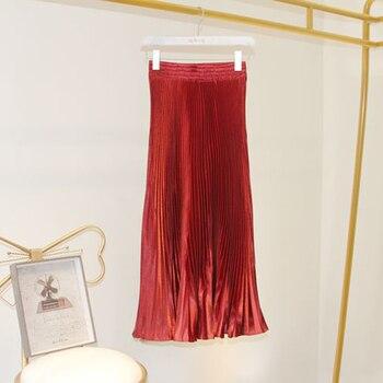 11 colors Mermaid Pleated Skirt Women Long Maxi Skirts Summer Plus Size Elastic Waist Korean Style Maxi Skirts Harajuku Cotton