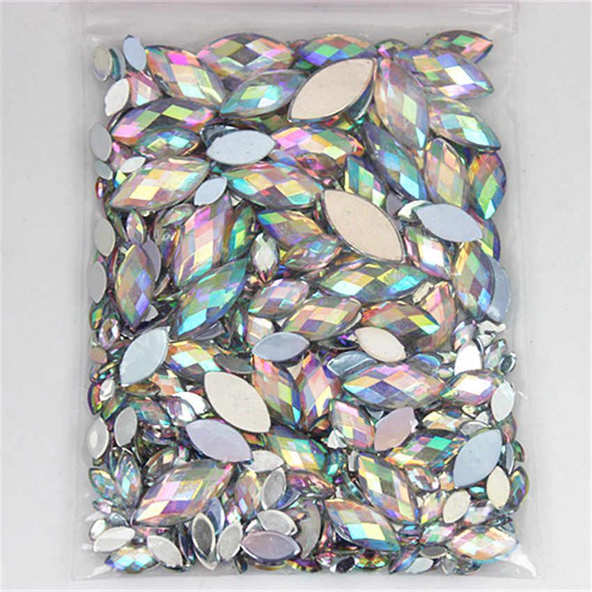 Mix 6 Größe 600 stücke Acryl Strass Auge Form Kristall AB Flache Rückseite Nagel Strass 3D Nicht HotFix Nail art dekoration Werkzeug WC80