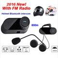 FM Radio Bluetooth Motocicleta Intercomunicador Del Casco BT Headset Interphone TOM-VB