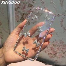 XINGDUO Crystal Diamond design transparent hard Phone case cover for Samsung A7 2018 Glitter bow S10 S8 S9 Note 8 9  s7 edge