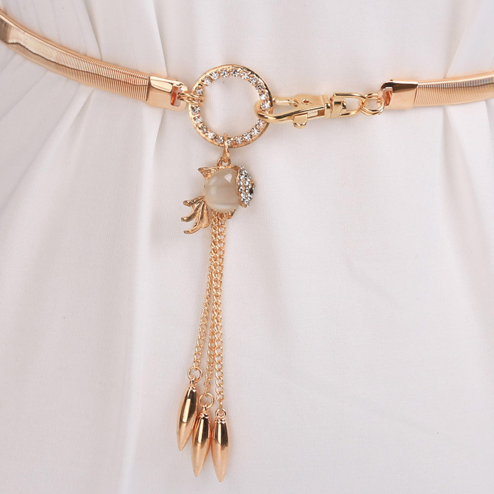 Elegant Multi Layer Waist Belt Chunky Hip Chain with Pendant Golden Color