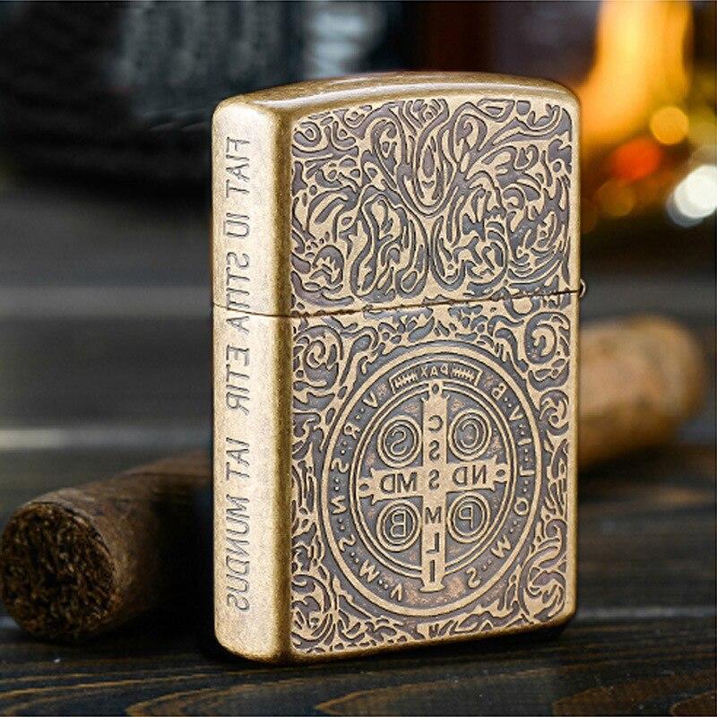 Pure copper kerosene wind wheel machine, creative personality Constantine restoring ancient ways,Metal gift lighters,