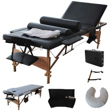 "3 Fold 84""L Portable Massage Table Facial Bed W/2 Bolster+Sheet+Cradle Cover HB79185BK(China)"