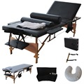 "3 Fold 84""L Portable Massage Table Facial Bed W/2 Bolster+Sheet+Cradle Cover  HB79185BK"