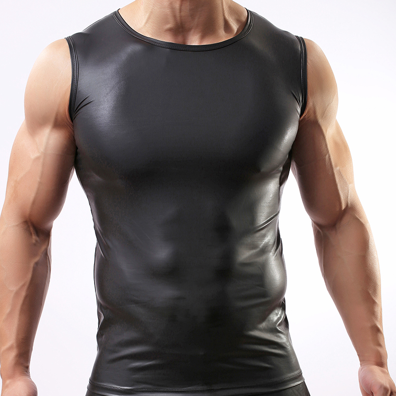 Fashion 2017 Black Faux Leather Man Fitness Bodybuilding Sleeveless Tank Tops/Gay Nylon Spandex Compression Vest/Singlets
